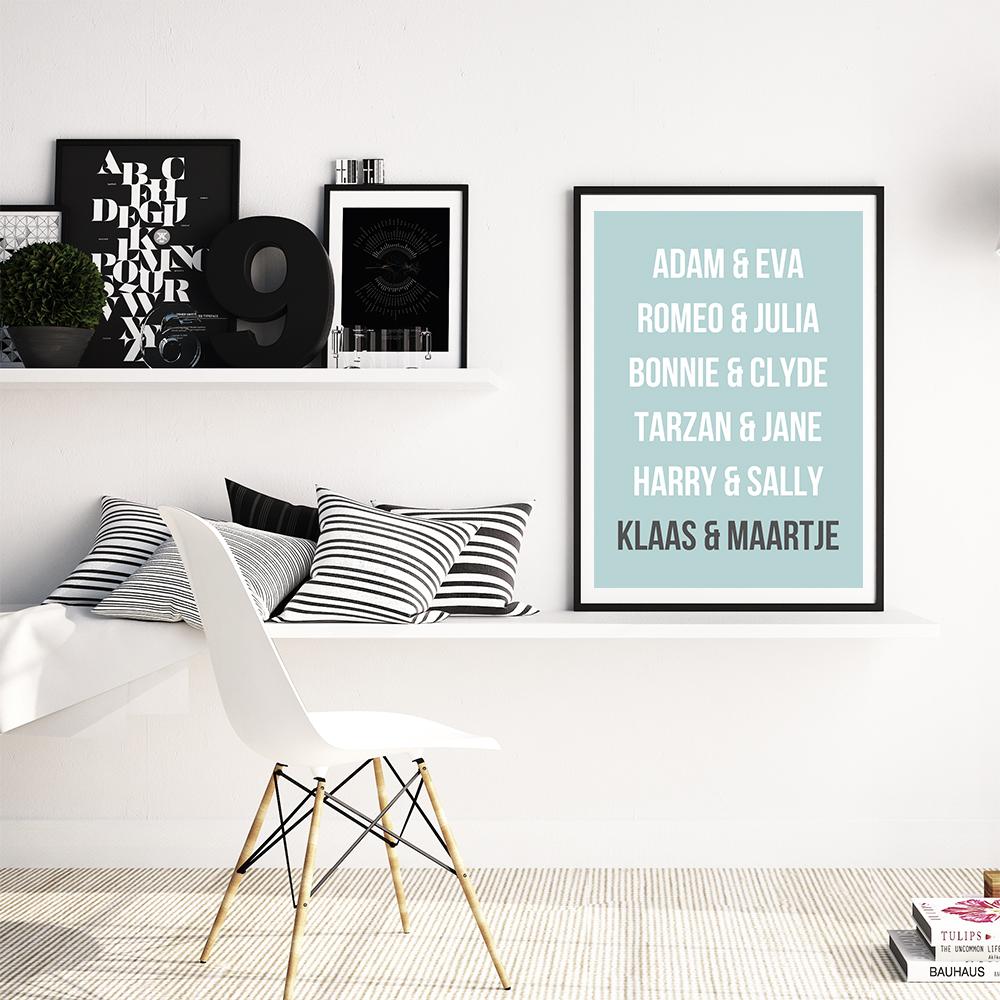Gepersonaliseerde poster koppels, Poster met eigen namen, als origineel huwelijkscadeau, Origineel cadeau voor koppels