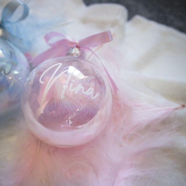 Gepersonaliseerde baby kerstbal met naam