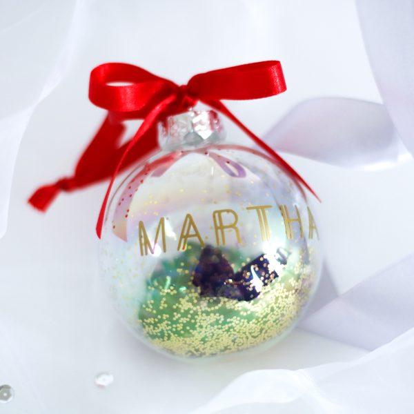 kerstbal met naam, gepersonaliseerde kerstbal, luxe kerstcadeau, kerstbal bedrukken
