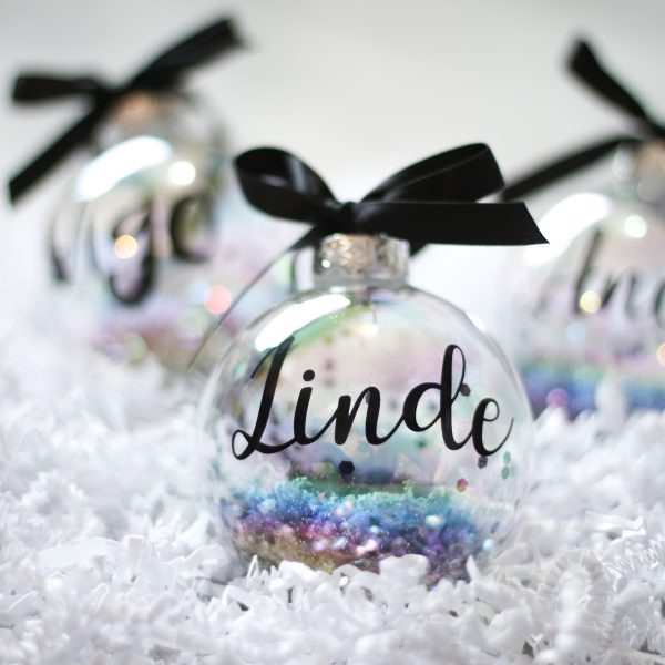 kerstbal met naam, kerstbal bedrukken, luxe kerstcadeau, personeel kerstcadeau