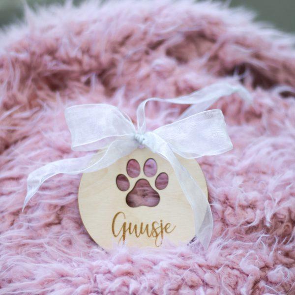 Gepersonaliseerde kersthanger met naam voor hond, hond kersthanger, houten kersthanger, kersthanger huisdier
