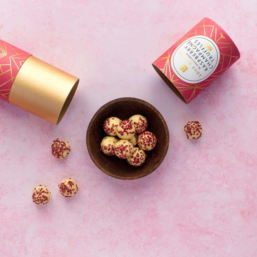 Raspberry Champagne Truffles by Love Cocoa