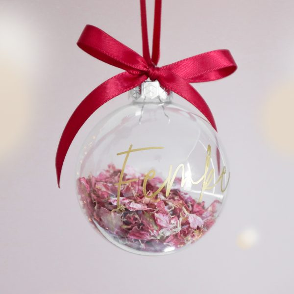 kerstbal met naam, gepersonaliseerd cadeau, kraamcadeau met naam, kerstbal bedrukken